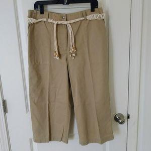 NWOT Ralph Lauren Belted Khaki Capris Size 12
